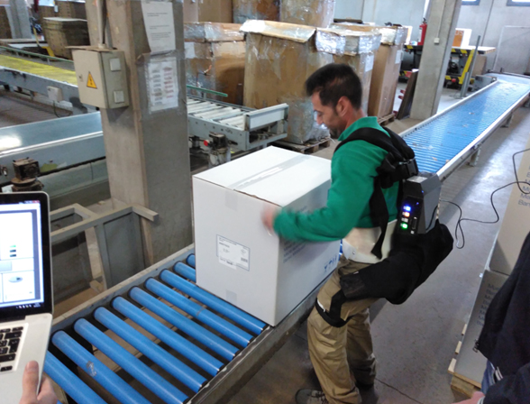 Active lumbar exoskeleton testing at Royo's assembly plant.