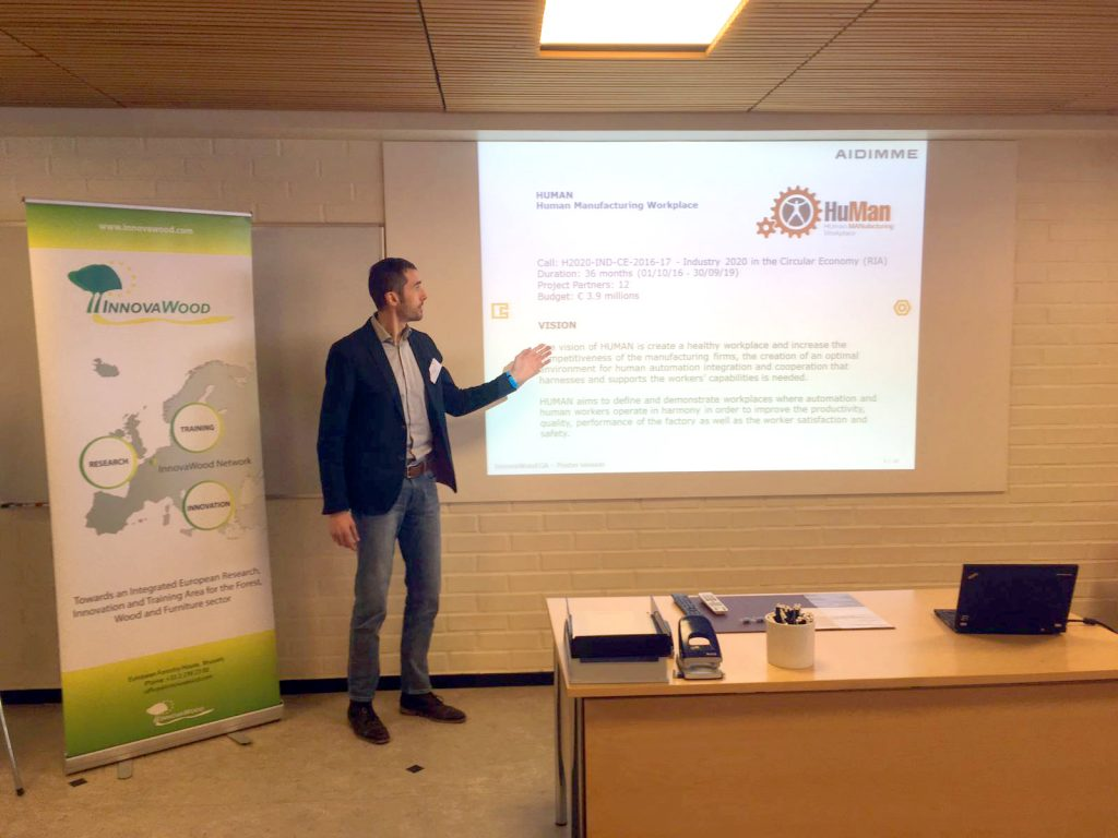 Michele Vavallo from AIDIMME presents HuMan at the INNOVAWOOD's GA in Finland