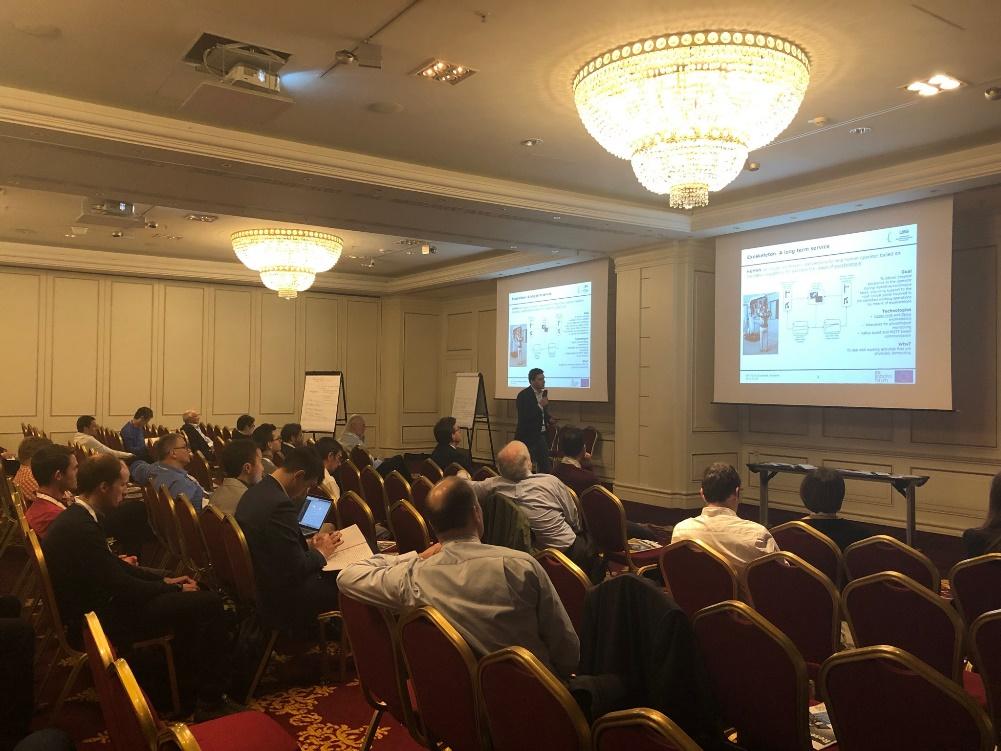 Dr. Sotiris Makris (LMS) presenting the HuMaN goals and services at the European Robotics Forum 2019